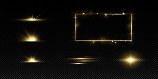 Leuchtende goldene sterne isoliert. effekte, blendung, linien, glitzer, explosion, goldenes licht.