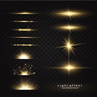 Leuchtende goldene sterne isoliert. effekte, blendung, linien, glitzer, explosion, licht
