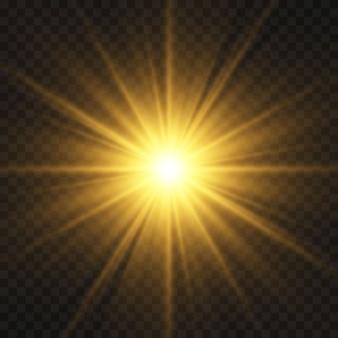 Leuchtende goldene sterne lokalisiert auf schwarzem hintergrund. effekte, blendung, linien, glitzer, explosion, goldenes licht. illustration