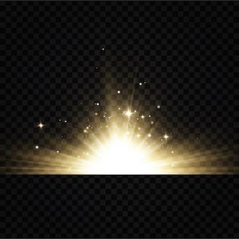Leuchtende goldene sterne lokalisiert auf schwarzem hintergrund. effekte, blendung, linien, glitzer, explosion, goldenes licht. vektorillustration.