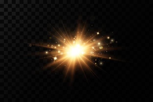 Leuchtende goldene sterne lokalisiert auf schwarzem hintergrund.