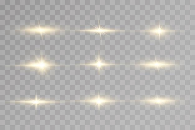 Leuchtende goldene sterne lokalisiert auf transparentem hintergrund