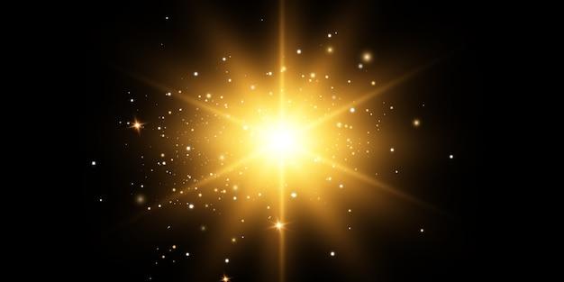 Leuchtende goldene sterne, sonne auf einem schwarzen hintergrund. effekte, blendung, linien, glitzer, explosion, goldenes licht. illustration