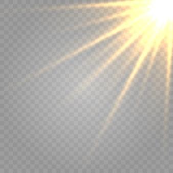 Leuchtende lichteffekte isoliert. sonnenblitz mit strahlen