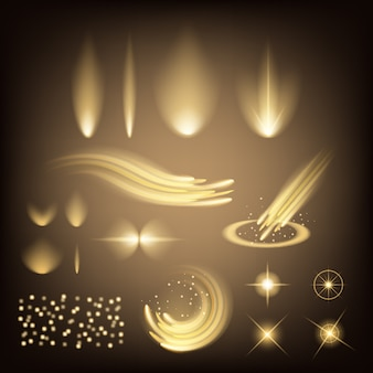 Leuchtende lichteffektsterne platzen vor funkeln.