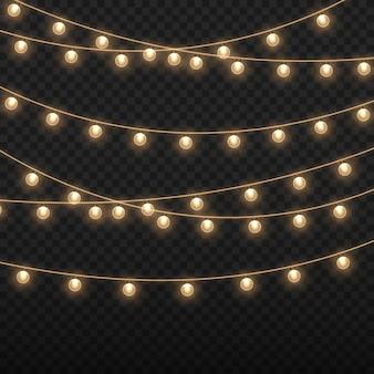 Leuchtende lichter für die weihnachtsfeiertage glühende glühbirnengirlande