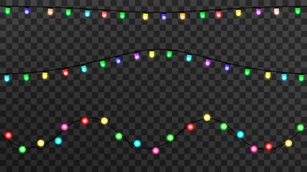 Leuchtende lichter für weihnachten, girlandendekorationen