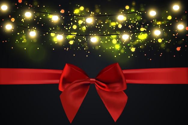 Leuchtende lichter für weihnachtsfeiertagsgrußkartenentwurf. girlanden, weihnachtsschmuck.
