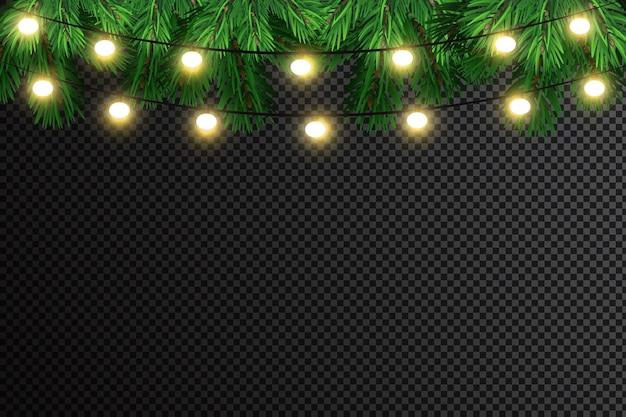 Leuchtende lichter für weihnachtsferien. girlanden, weihnachtsschmuck.