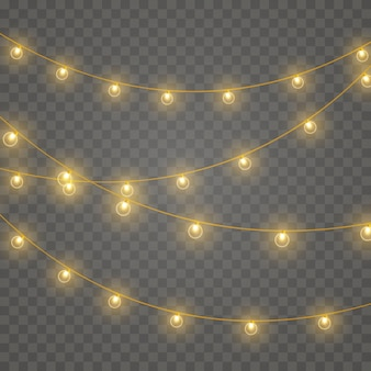 Leuchtende lichter für weihnachtskarten Premium Vektoren