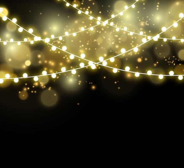 Leuchtende lichter. girlandenschnur, leichte dekoration.