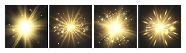 Leuchtende lichter. goldkarten, sammlung von leuchtenden effekten. dekorative vektorelemente der luxusfeier. glänzender goldener bokeh-stern glänzende, platzende glitzer-funkeln-illustration