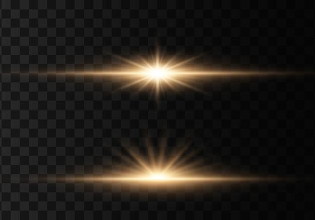 Leuchtende lichter und sterne. auf transparentem hintergrund isoliert. lichtmenge explodiert.