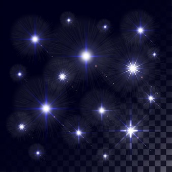 Leuchtende lichter und sterne. isoliert
