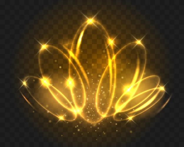 Leuchtende lichtkreise auf transparent