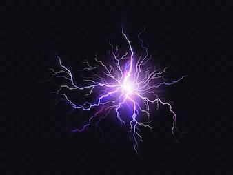 Leuchtende lila Beleuchtung auf dunklem Hintergrund isoliert. Violette elektrische Entladung
