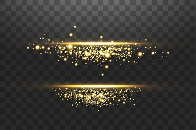 Leuchtende linseneffekte, funken und linien.