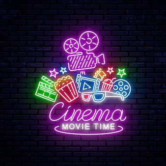 Leuchtende neon-kino-zeichen