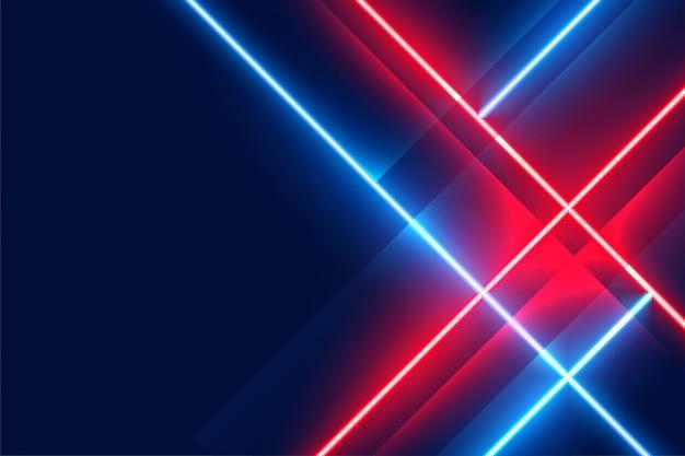 Leuchtende neon-led-lichter auf blauer und roter farbe