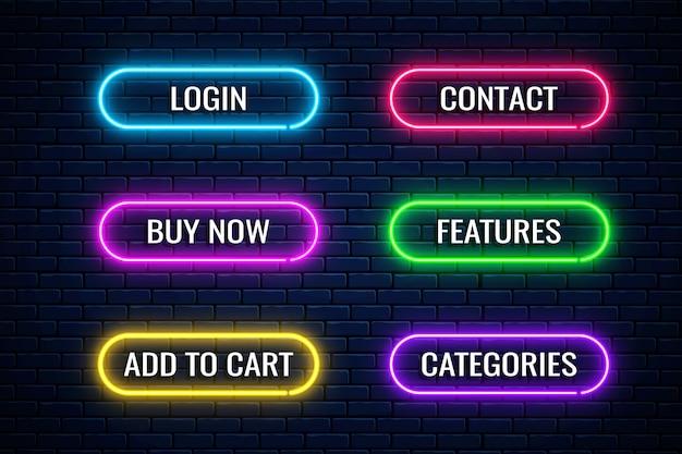 Leuchtende neonknöpfe für das design des internetgeschäfts. satz website-shop-button.