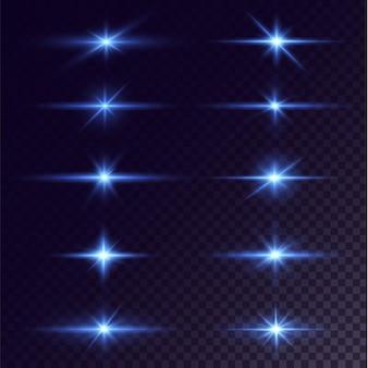 Leuchtende neonsterne auf schwarzem hintergrund isoliert effekte lens flare glanz explosion neonlicht Premium Vektoren