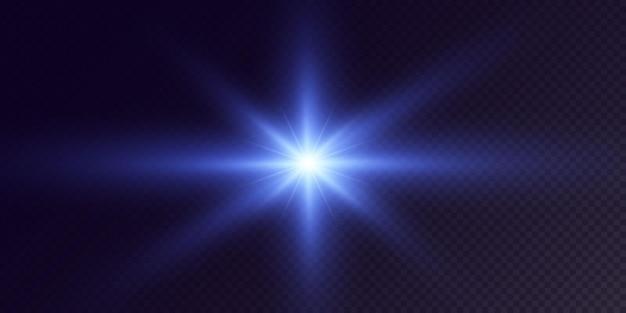 Leuchtende neonsterne isoliert auf schwarzem hintergrund leuchtende sterne schöne blaue strahlen vector