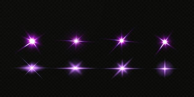 Leuchtende neonsterne lokalisiert auf schwarzem hintergrund