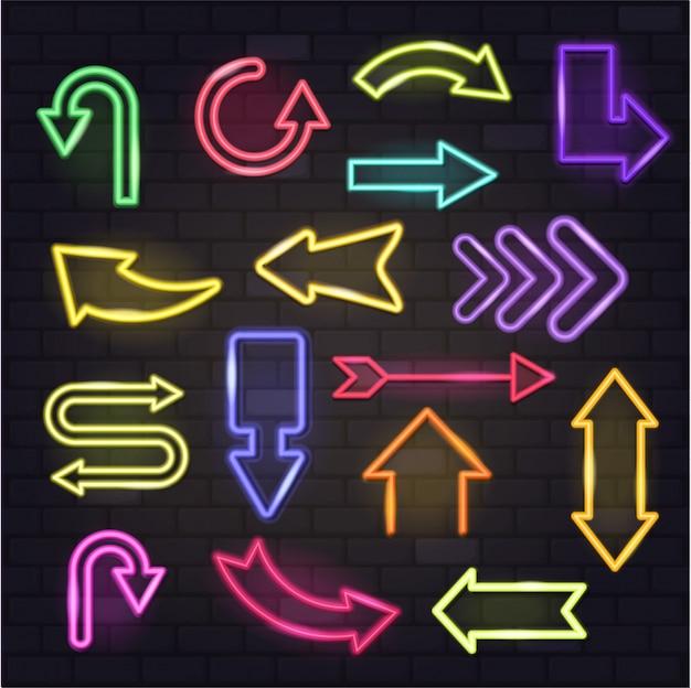 Leuchtende pfeile des neonpfeilvektors und beleuchtete pfeilspitzenrichtungsillustration