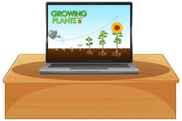 Leuchtende pflanzen auf dem computerbildschirm