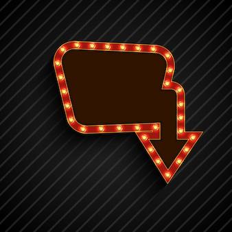 Leuchtende retro licht billboard banner auf schwarzem hintergrund