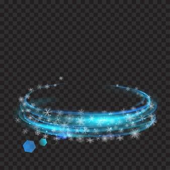 Leuchtende ringe mit glitzer und schneeflocken in hellblauen farben auf transparentem hintergrund. lichteffekte. zur verwendung auf dunklen hintergründen. transparenz nur im vektorformat