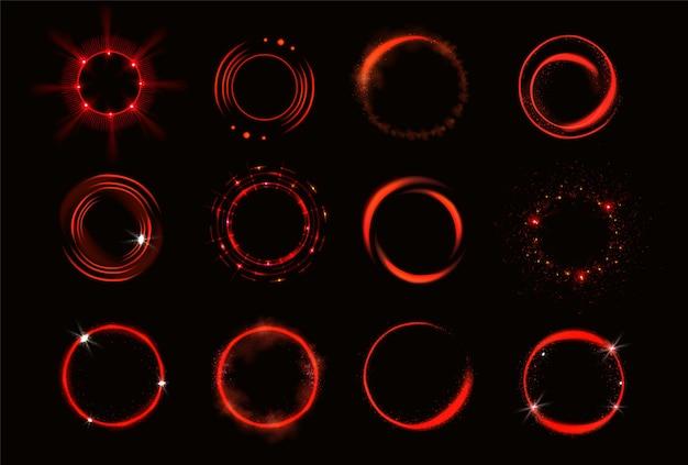 Leuchtende rote kreise mit funkeln und rauch