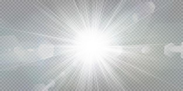 Leuchtende sterne auf einem transparenten weißen hintergrund.