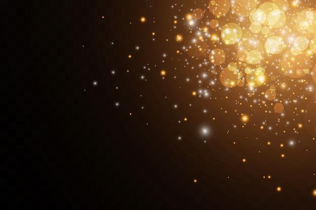 Leuchtende sterne lichteffekt isoliert auf schwarz