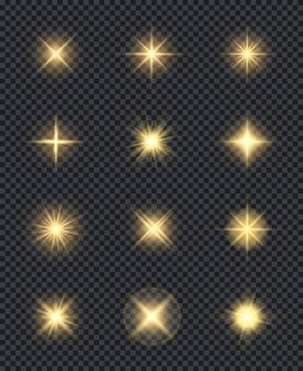 Leuchtende sterne. realistische lichtscheineffekte lösen feier-symbole aus