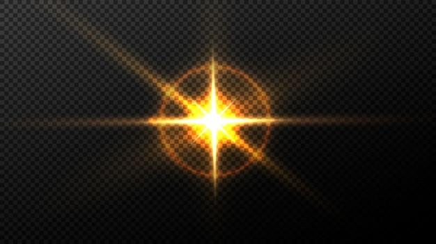 Leuchtende sterne, schöne goldene strahlen.