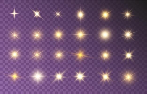 Leuchtende strahlen setzen helle schöne sterne, die schöne lichter funkeln