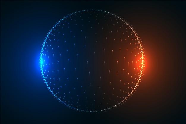 Leuchtende teilchenkugel in zwei hellen farben