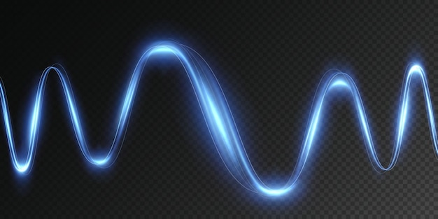 Leuchtender blauer dynamischer wirbel futuristische lichtstreifenlinie in bewegung auf einem transparenten hintergrund png