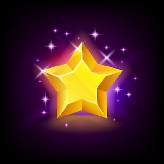 Leuchtender gelber stern mit funkeln, slot-symbol für online-casino oder logo für handyspiel bei dunkelheit
