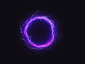 Leuchtender Kreis von lila Beleuchtung auf dunklem Hintergrund isoliert.