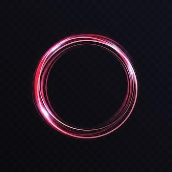 Leuchtender lebendiger neonkreisring abstrakter leuchtender lichteffekt sturmspur runder wirbel