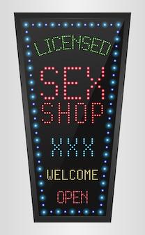 Leuchtender led-banner lizenzierter sexshop