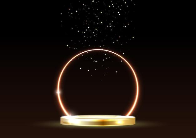 Leuchtender neongoldener kreis mit funkeln im nebel auf goldenem podium