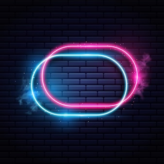 Leuchtender neonlichtrahmen Premium Vektoren