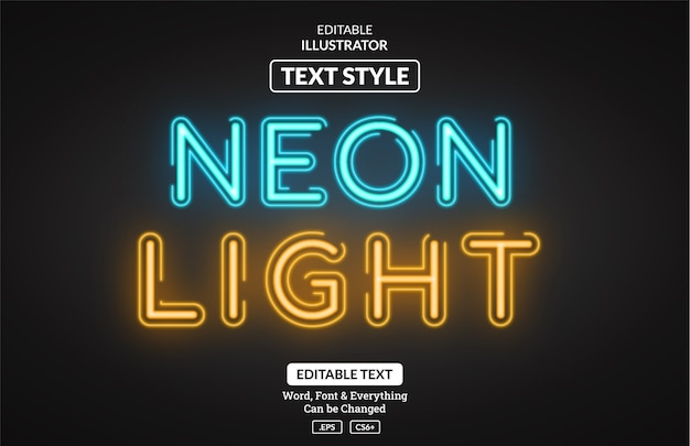 Leuchtender neonlichtstil, bearbeitbarer texteffekt