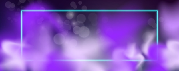 Leuchtender quadratischer neonrahmen mit rauch. vektorillustration
