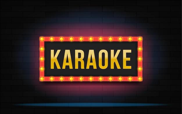 Leuchtender rahmen mit karaoke-schriftzug. moderne illustration.