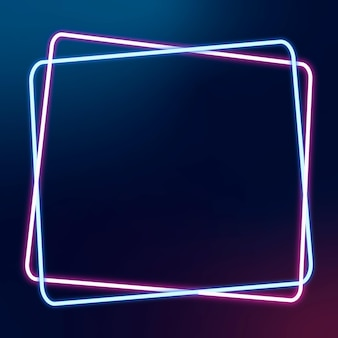 Leuchtender rosa und blauer neonrahmen