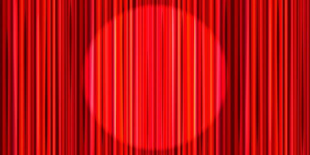Leuchtender roter vorhang mit runder scheinwerferbeleuchtung, retro-theaterbühnenhintergrund